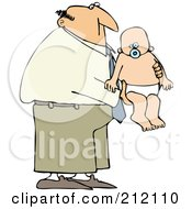 Royalty Free RF Clipart Illustration Of A Father Holding A Baby In A Diaper