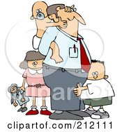 Royalty Free RF Clipart Illustration Of A Baby Grabbing Dads Face From His Back And Two Other Children by Dennis Cox