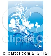 Royalty Free RF Clipart Illustration Of A Background Of Butterflies Bubbles And Foliage On Blue