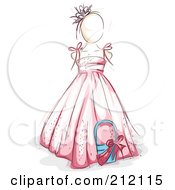 Royalty Free RF Clipart Illustration Of A Sketched Flower Girl In A Pink Dress by BNP Design Studio