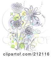 Royalty Free RF Clipart Illustration Of A Group Of Purple Flowers With Green And Yellow Spots