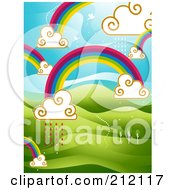Royalty Free RF Clipart Illustration Of A Background Of Rainbows And Clouds With Rain Over Hills by BNP Design Studio