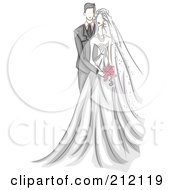 Royalty Free RF Clipart Illustration Of A Sketched Wedding Couple With The Groom Behind His Bride