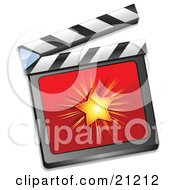 Shining Star On A Red Clapperboard Over A White Background