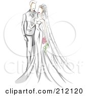 Royalty Free RF Clipart Illustration Of A Sketched Wedding Couple With The Bride Touching Her Groom by BNP Design Studio
