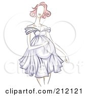 Royalty Free RF Clipart Illustration Of A Sketched Pregnant Woman In A Purple Dress