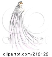 Sketched Bride In A Long Gown And Veil