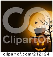 Royalty Free RF Clipart Illustration Of A Grinning Jack O Lantern Wearing A Hat Against A Full Moon Bare Tree And Bats by elaineitalia