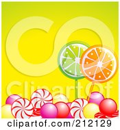 Royalty Free RF Clipart Illustration Of Colorful Gum Balls And Hard Candy Over Yellow by elaineitalia