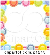 Clipart Illustration Of A Border Of Colorful Pink Yellow Orange Blue And Green Flowers Over A White Background by elaineitalia