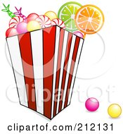 Royalty Free RF Clipart Illustration Of A Bucket Of Colorful Gum Balls And Hard Candy by elaineitalia