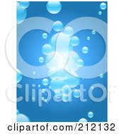 Royalty Free RF Clipart Illustration Of A Blue Background With A Cluster Of Floating Bubbles