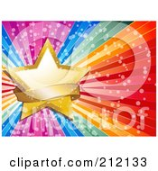 Royalty Free RF Clipart Illustration Of A Golden Star And Sparkly Banner On A Bursting Rainbow Background by elaineitalia