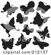 Royalty Free RF Clipart Illustration Of A Digital Collage Of Black Butterfly Silhouettes by visekart