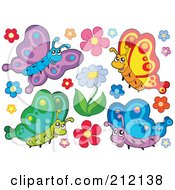 Royalty-Free (RF) Clipart Illustration of a Digital Collage Of Four Butterflies - 4 by visekart