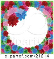 Clipart Illustration Of A Circular Floral Frame Of Red Pink Green And Blue Daisies Over White by elaineitalia