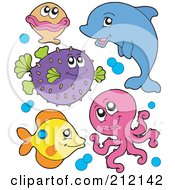 Royalty Free RF Clipart Illustration Of A Digital Collage Of A Clam Blowfish Dolphin Octopus And Fish With Bubbles