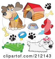 Royalty Free RF Clipart Illustration Of A Digital Collage Of Dogs And Dog Items