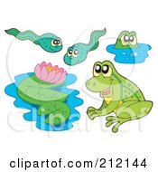 Royalty Free RF Clipart Illustration Of A Digital Collage Of Frogs Lily Pads And Tadpoles by visekart