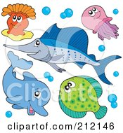 Royalty Free RF Clipart Illustration Of A Digital Collage Of A Happy Anemone Jellyfish Marlin Dolphin And Halibut