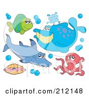 Royalty Free RF Clipart Illustration Of A Digital Collage Of A Fish Shark Whale Clam And Octopus by visekart