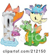 Royalty-Free (RF) Clipart Illustration of a Digital Collage Of Dragons And A Castle by visekart #COLLC212150-0161