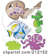 Royalty Free RF Clipart Illustration Of A Digital Collage Of A Halibut Fish Seahorse Octopus And Corals by visekart
