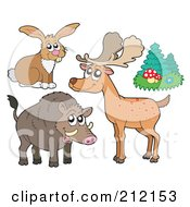 Royalty Free RF Clipart Illustration Of A Digital Collage Of A Forest Hare Deer Trees And Boar by visekart
