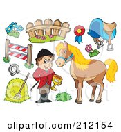 Royalty Free RF Clipart Illustration Of A Digital Collage Of An Equestrian With A Horse And Items by visekart