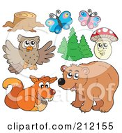 Royalty Free RF Clipart Illustration Of A Digital Collage Of A Tree Stump Butterflies Trees Mushroom Owl Squirrel And Bear by visekart