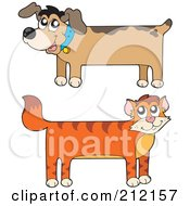 Royalty Free RF Clipart Illustration Of A Digital Collage Of A Long Stretched Cat And Dog
