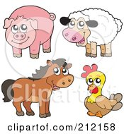Royalty Free RF Clipart Illustration Of A Digital Collage Of A Cute Sheep Pig Horse And Chicken