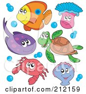 Royalty Free RF Clipart Illustration Of A Digital Collage Of A Fish Ray Anemone Sea Turtle Crab And Clam by visekart