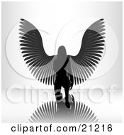 Clipart Illustration Of A Kneeling Female Angel On A Reflective Surface Silhouetted In A Bright Light by elaineitalia