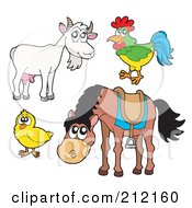 Royalty Free RF Clipart Illustration Of A Digital Collage Of A Goat Rooster Chick And Horse by visekart