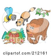 Royalty Free RF Clipart Illustration Of A Digital Collage Of A Bee With Honey Mink And Bear by visekart