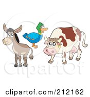 Royalty Free RF Clipart Illustration Of A Digital Collage Of A Donkey Duck And Cow by visekart