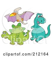 Royalty Free RF Clipart Illustration Of Three Dinosaurs