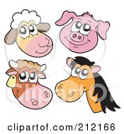 Royalty Free RF Clipart Illustration Of A Digital Collage Of Sheep Pig Cow And Horse Faces by visekart