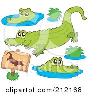 Royalty Free RF Clipart Illustration Of A Digital Collage Of Crocodiles by visekart