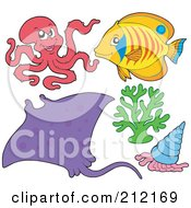 Royalty Free RF Clipart Illustration Of A Digital Collage Of A Mean Octopus Ray Fish Coral And Shell by visekart