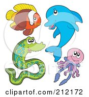 Royalty Free RF Clipart Illustration Of A Digital Collage Of A Fish Dolphin Eel And Jellyfish