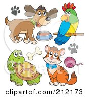 Royalty Free RF Clipart Illustration Of A Digital Collage Of A Dog With Food Parrot Tortoise And Cat