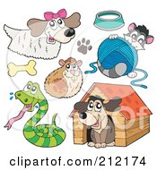 Royalty Free RF Clipart Illustration Of A Digital Collage Of A Dog Hamster Snake Cat And Dog House by visekart