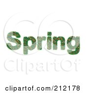3d Word Spring Made Of Flowers And Grass
