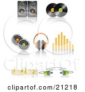 Clipart Illustration Of A Collection Of Speaker Vinyl Record Discs Headphones Volume Equalizer Music Notes And Cable Icons With Shadows by elaineitalia