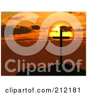 Royalty Free RF Clipart Illustration Of A Silhouetted Cross On A Hilltop Against An Orange Sunset