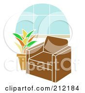 Royalty Free RF Clipart Illustration Of A Brown Chair By A Potted Plant Near A Bay Window by mheld