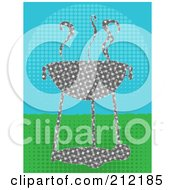 Royalty Free RF Clipart Illustration Of A Halftone Patterned Bbq Over Halftone Grass And Sky by mheld