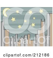 Royalty Free RF Clipart Illustration Of A City Skyline Of Stripes At Night